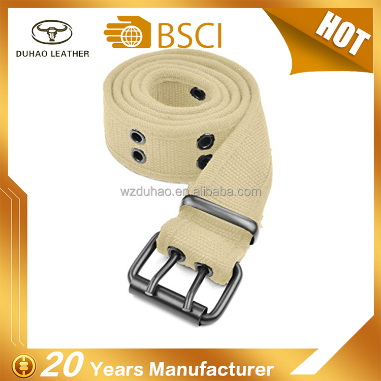 High Quality Canvas Cotton Belts Webbing Woven Belt With Round Buckle