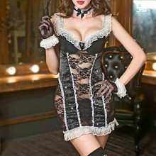 Black White French Maid Sexy Lingerie Bar Servant women Costume Dress Uniform