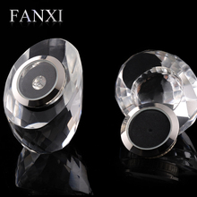FANXI Exquisite Clear Crystal Shop Exhibitor Case Egg Shape Bare Diamond Collection Storage Jewelry Box Loose Diamond Display
