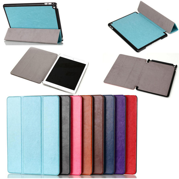 Crazy horse design 3 fold segment flip leather smart cover case for iPad air 2