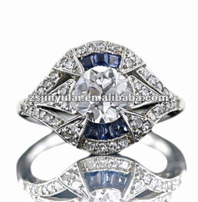 New Design Fashion Jewelry of Heart and Arrow AAA CZ Diamond Art Deco Style Sapphire Ring