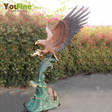 Spread The Wings Bronze Eagle Catching Fish Sculpture For Sale