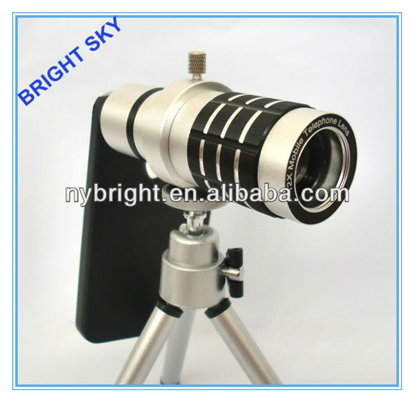 Real 12X Optical Telescope for iphone Zoom Lens Silver Mobile Phone Telescope