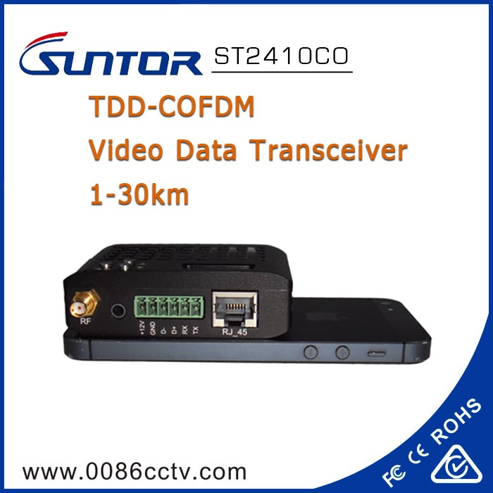 Outdoor 2.4GHz 8-20km wireless COFDM data transmitter and receiver with RJ45 port