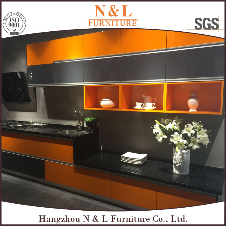 2016 new model PVC kitchen modular kitchen cabinet, plywood kitchen cabinet color combinations