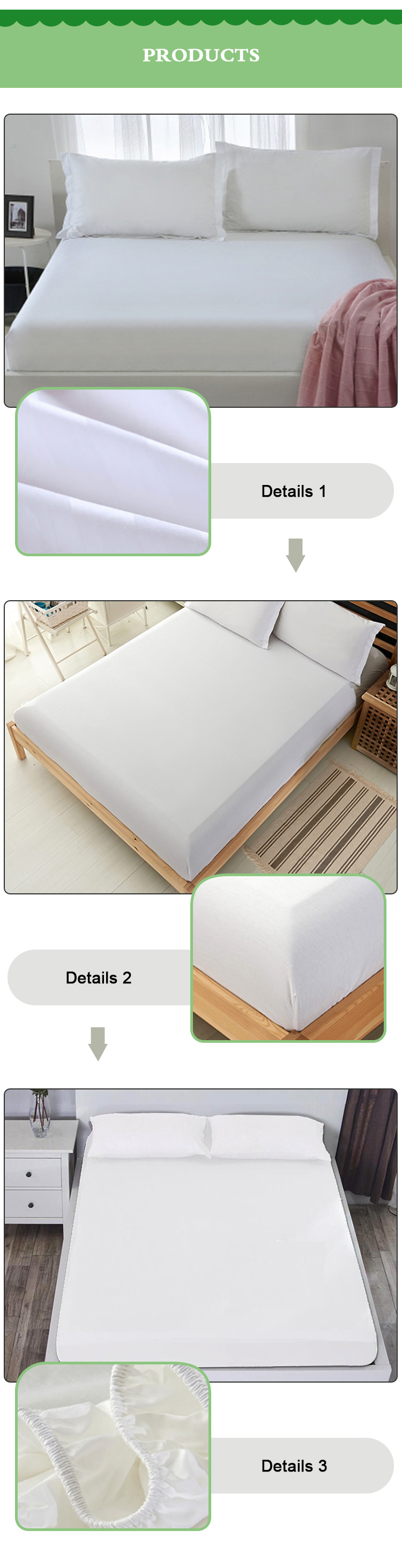 Bamboo Waterproof fitted mattress pad protector cover full size bed topper