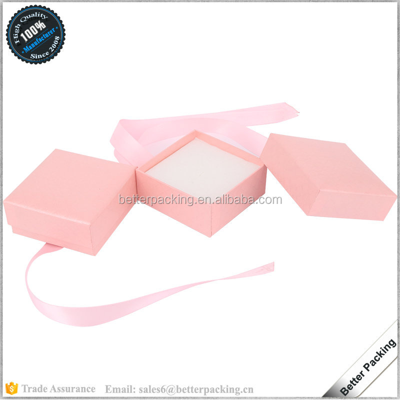 JBP441 Cheap Paper Pink Baby Ribbon Bowknot Jewelry Gift Earring Box