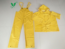 Yellow pvc/polyester cheap fisherman raincoat