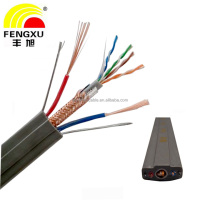 flexible PU utp cat5e Flat Traveling elevator Cable for Cctv Camera with power cable