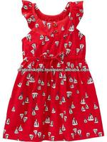 Boat allover printed Girls red flutter sleeve dress with knotted front