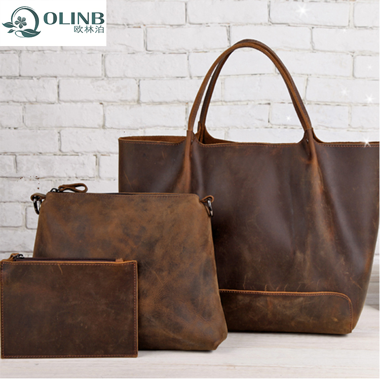 Fashion Trendy Retropu Woman Ladies PU Leather Hand Bags Tote Shoulder Bag Set Of 2 3