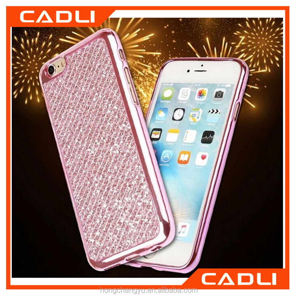 Luxury Gold Bling Diamond Soft Electroplating TPU Glitter Phone Case for iphone4s 5s 6s 6splus Back Cover
