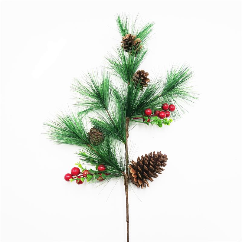 Faux christmas berry spray pinecone branch for christmas tree decoration