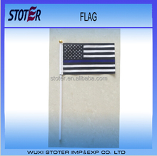 10*15cm 100%polyester thin blue line USA hand flags