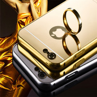 Acrylic Back Cover Mirror Electroplating Glod Bumper Frame Case For iPhone 6s, Metal Phone Cover For I6