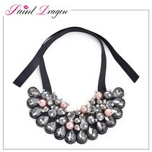 Saint draogn jewelry silk ribbon choker statement necklace with mutiple crystal pendant wholesale