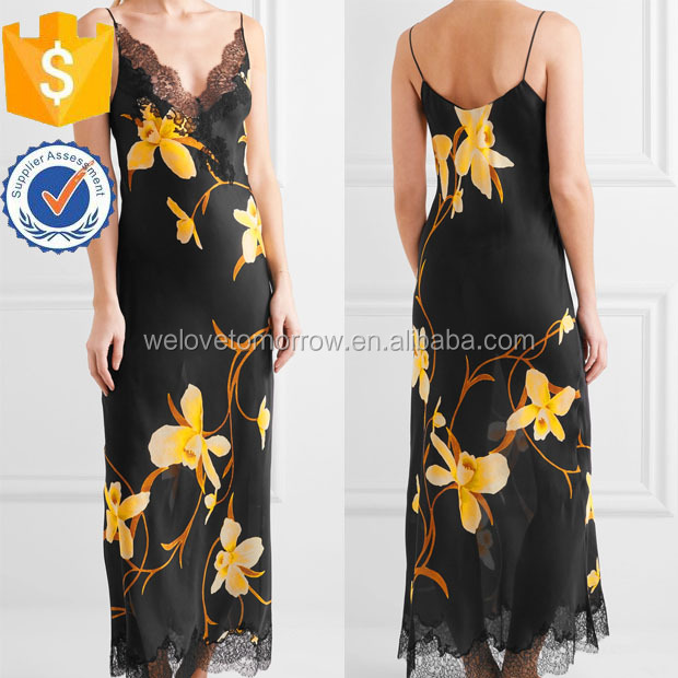 Printed Silk-chiffon Nightdress Sleepwear For Ladies Manufacture Women Wholesale Fashion Women Apparel(TS0033E)