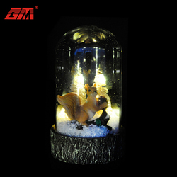 Wholesale handmade battery operated clear led glass decorative mini glass domes with base for gifts