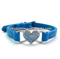 Blue Pu Leather Pet Dog Puppy Collar with Rhinestones heart Charm