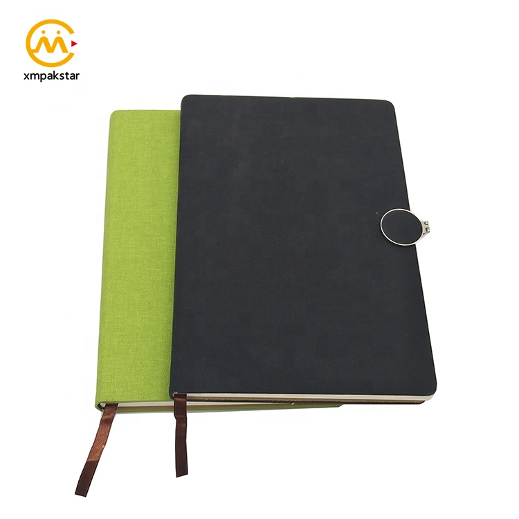 Custom print black PU leather note book magnetic closure hardcover agenda with ribbon bookmark