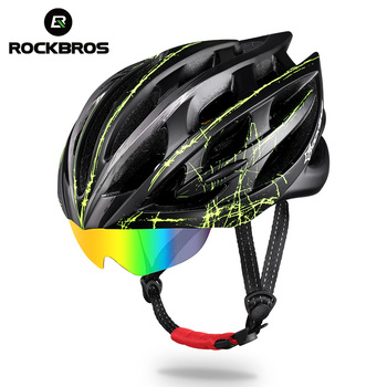 2017 ROCKBROS Ultralight Cycling Helmet Casco Ciclismo Casco MTB Bike Helmet PC In-Mold glasses Special goggle helmet