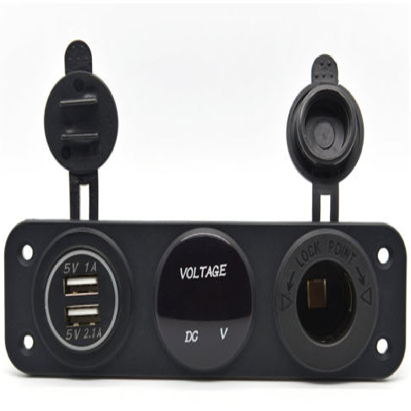 Dual USB <strong>Auto</strong> with LED Charger Socket Voltage Voltmeter and power socket Panel