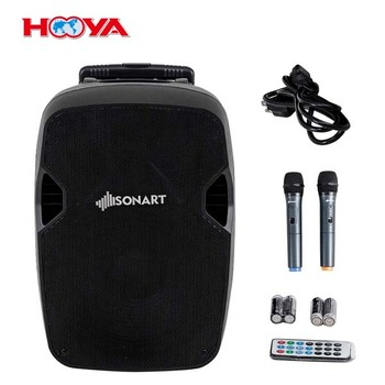 "Portable 12"" 2-way 600W Powered Speaker Music Rechargeable Battery"