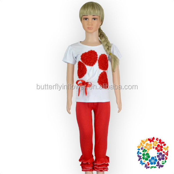 Valentine's Day New born baby clothes set Red Ruffle Leggings with White Red Hearts Shirts set