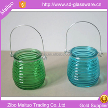 green bottle and silver handle small hanging glass lamp tea light holder lanterns for candles