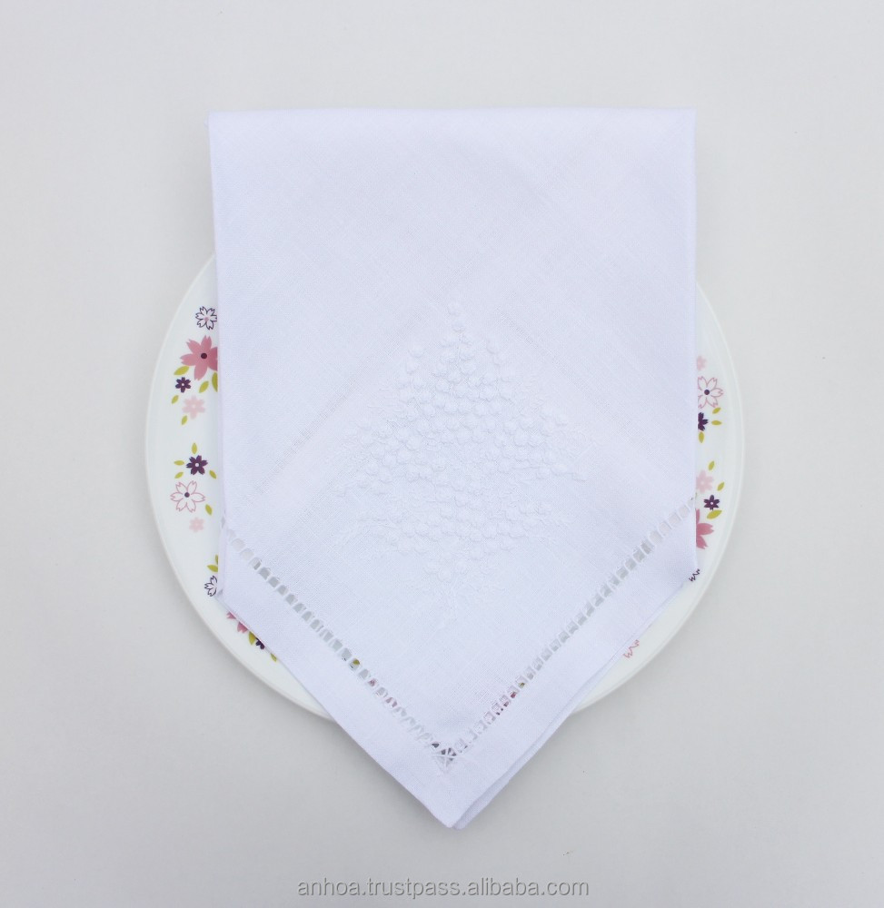 100% linen hemstitched mimosa flower hand embroidered napkin