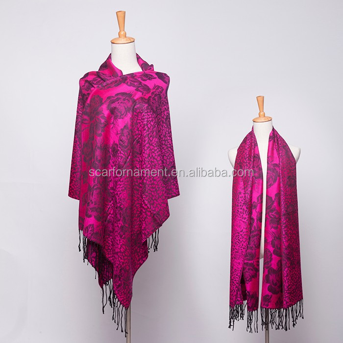 leopard print rose flower with wire line viscose jacquard pashmina shawl & scarf 70*180cm add 2*10cm fringe good quality
