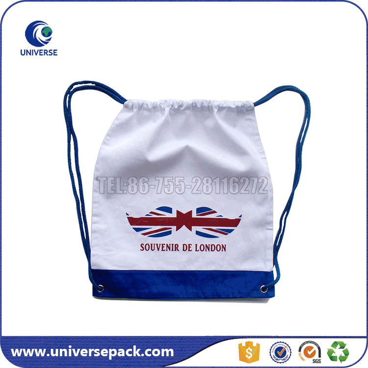 Custom Made White Canvas Backpack Bag With Drawstring
