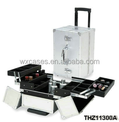 strong aluminum cosmetic trolley with trays inside wholesales