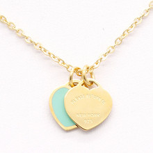 New style fashion wholesale alloy metal enamel mint engraved gold heart necklace