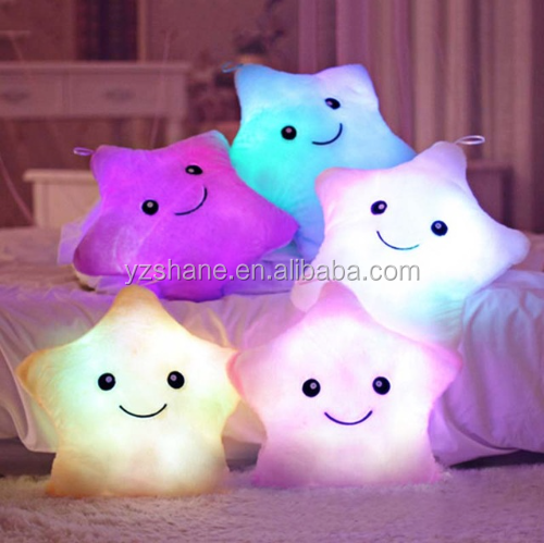 Hot Colorful Cute Luminous Pillow Christmas Toy Led Light Plush Pillow Stars Kids Dolls Stuffed Toys for Children Birthday Gift
