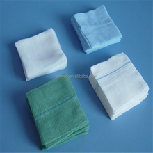 Medical use wound care 40s cotton yarn white, blue, green color gauze swab / sponge