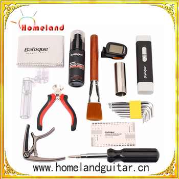 Guitar Luthier Repair Tools Kit Set with Files Stainless Steel Ruler Winder String Action Gauge Strings Polish Capo Slide Brush