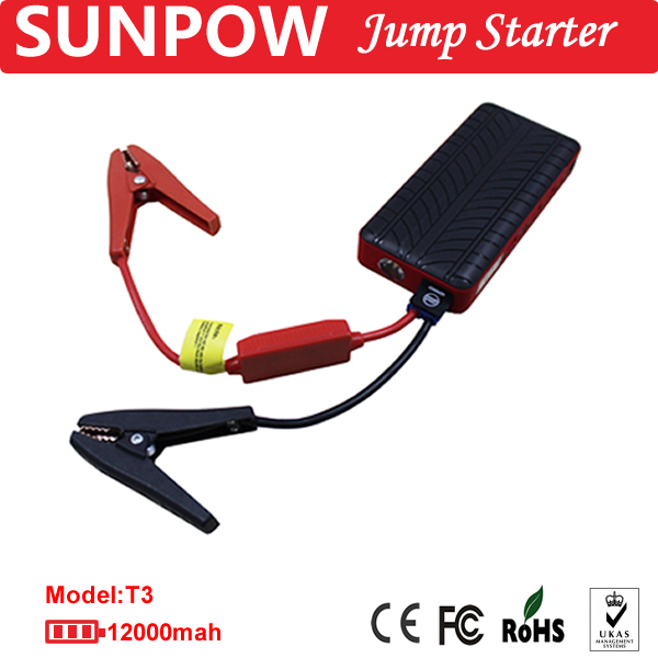 SUNPOW multi-function rechargeable battery for car power booster jump starter cables with LED light jump starter