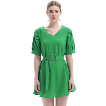 Summer Europe and the United States large size women's new waist was thin lotus leaf solid color dress female