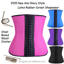 body shaping slimming corset, Steel bone Colorful 3 hook waist training, rubber waist training body shaper