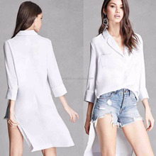 Design for Formal Blouses Pictures Women Fashion Hi-low Hem Long Sleeve Sleepwear Style Blouses Sexy Women See Through Blouses