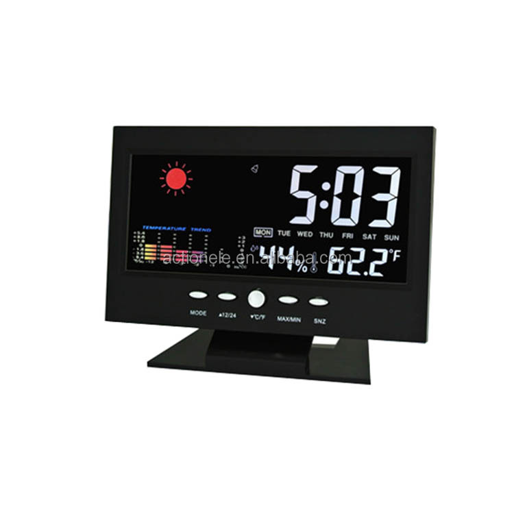 Tv shape Weather Station voice control back-light lcd Table Clock with Color LCD display