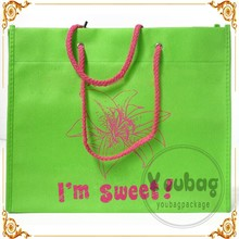 Eco pp non woven bag with pp rope handle,non woven bag with ring