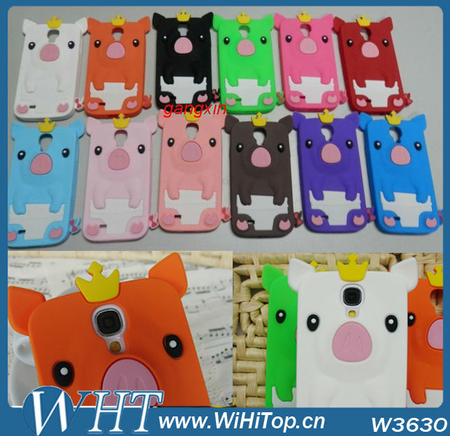 For Samsung Galaxy S4 Animal Case Silicone Case Pig 3D design