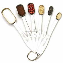 Heavy Duty Stainless Steel Metal Measuring Spoons for Dry Liquid Fits in Spice Jar Set of 6 Ergonomic Narrow Shape