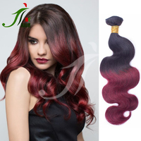 2016 New Fashion Tight Double Sew In Human Hair Weave Body Wave Ombre Two Tone Color 99J Brazilian Hair