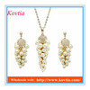 Cheap costume jewelry set dubai gold plated imitation pearl beaded drop necklace earring set