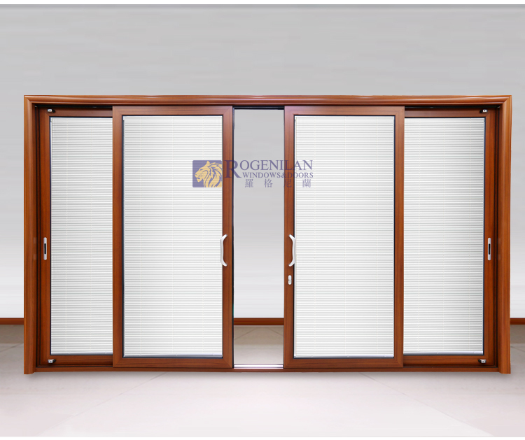 Rogenilan Exterior Commercial Large Size Tempered Glass Triple Sliding Closet
