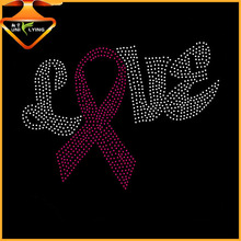 Pink ribbon breast cancer rhinestones iron on transfers