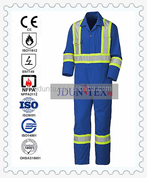 EN11611/11612 100% cotton woven twill Flameproof Protective FR Royal blue with 3M reflective tape Coverall 290gsm